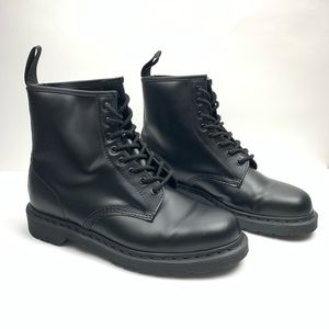 Dr Martens Smooth Black Mono Leather Combat Boots